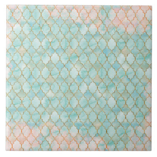Light pink and Aqua Maroccan pattern Tile