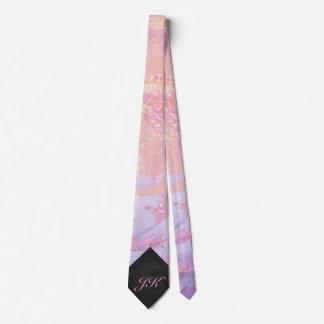Light Pink and Black Monogram Tie