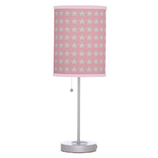 Light Pink and Pearl Grey Stars Pattern Table Lamp