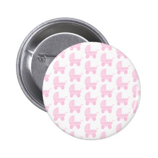 Light Pink and White Baby Stroller Pattern. 2 Inch Round Button