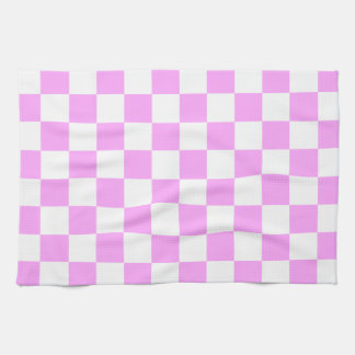 Light Pink and White Checkerboard Pattern Kitchen Towel