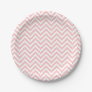 Light Pink and White Chevron 7 Inch Paper Plate