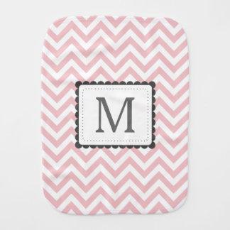 Light Pink And White Chevron Custom Monogram Burp Cloth