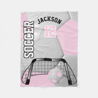 Light Pink and White Soccer Ball with DIY Text Fleece Blanket
