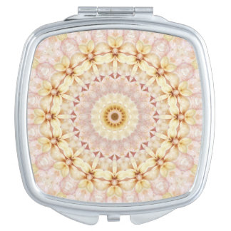 Light Pink and Yellow Floral Mandala Art Compact Mirror