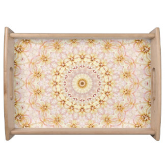 Light Pink and Yellow Floral Mandala Art Serving Tray