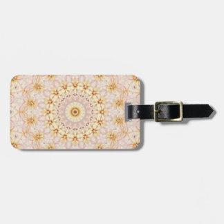 Light Pink and Yellow Floral Mandala Kaleidoscope Luggage Tag