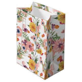 Light Pink And Yellow Flowers Pattern Medium Gift Bag