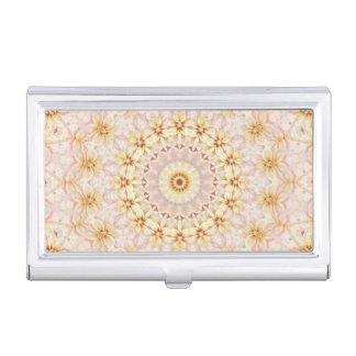 Light Pink and Yellow Mandala Kaleidoscope Business Card Holder