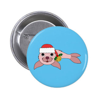 Light Pink Baby Seal with Santa Hat & Gold Bell 2 Inch Round Button