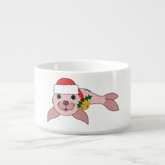 Light Pink Baby Seal with Santa Hat & Gold Bell Chili Bowl