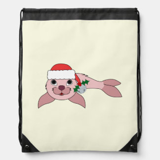 Light Pink Baby Seal with Santa Hat & Silver Bell Cinch Bags