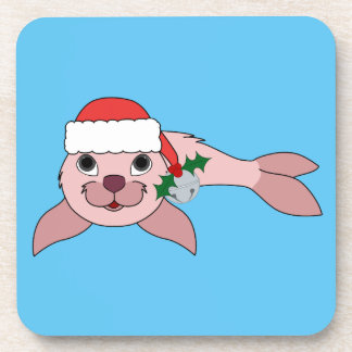 Light Pink Baby Seal with Santa Hat & Silver Bell Coaster