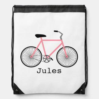 Light Pink Bicycle Drawstring Backpack