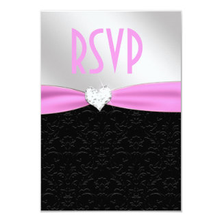 Light Pink Black Floral Damask Diamond Heart RSVP Card