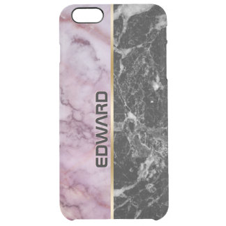 Light Pink & Black Marble Print Clear iPhone 6 Plus Case