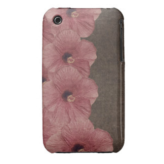 Light Pink Brown Flowers iPhone 3 Case