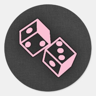 Light Pink Casino Dice Classic Round Sticker