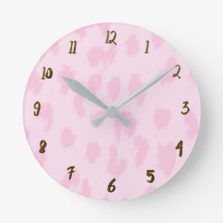Light Pink Cheetah Leopard Print Spots Custom Round Clock