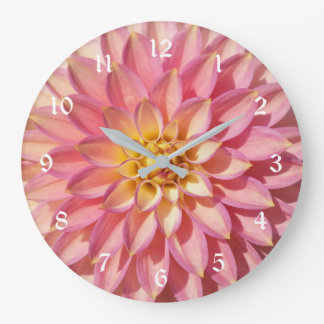 Light Pink Dahlia Floral Large Clock