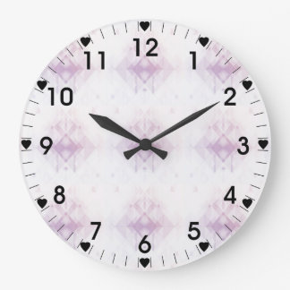 Light Pink Geometric Pattern Large Clock
