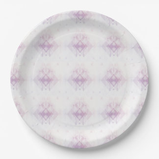 Light Pink Geometric Pattern Paper Plate