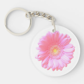 Light pink gerbera daisy Double-Sided round acrylic keychain