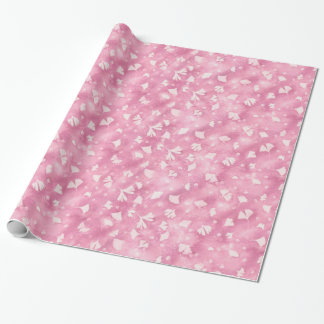 Light Pink Ginkgos and Flowers Wrapping Paper