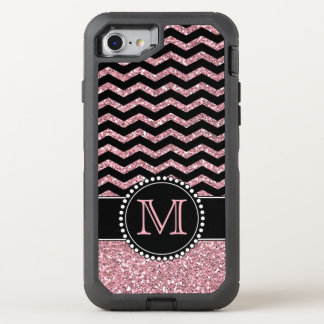 Light Pink Glitter Chevron Personalized Defender OtterBox Defender iPhone 8/7 Case