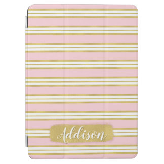 Light Pink Gold Stripe Pattern Custom Name iPad Air Cover