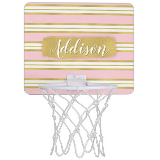 Light Pink Gold Stripe Pattern Custom Name Mini Basketball Hoop
