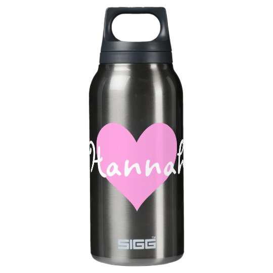 Light Pink Heart I Love Hannah Insulated Water Bottle
