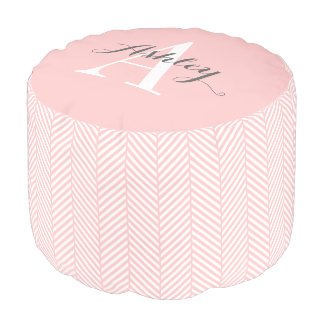 Light Pink Herringbone Custom Monogram Pouf