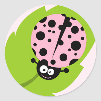 Light Pink Ladybug Round Sticker