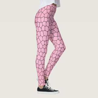 Light Pink Mosaic Pattern Leggings