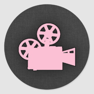 Light Pink Movie Camera Round Sticker