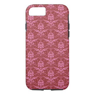 Light Pink on Dark Pink Damask Pattern iPhone 7 Case