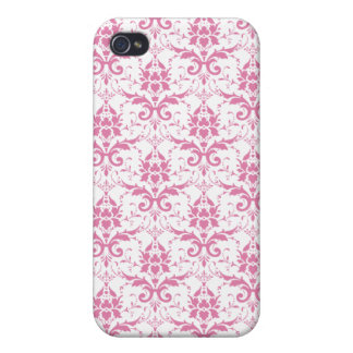Light Pink on White Damask Pern iPhone 4/4S Covers