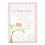 Light Pink Owl Baby Shower Invitation