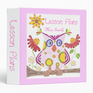 Light pink owl personalized teacher binder