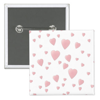Light Pink Pattern of Love Hearts. 2 Inch Square Button