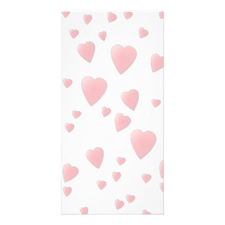 Light Pink Pattern of Love Hearts. Photo Cards