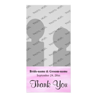 Light Pink Pattern Wedding Thank You Design. Custom Photo Card