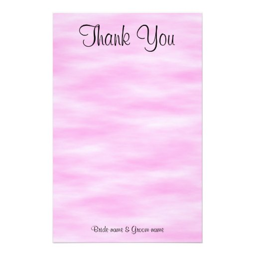 Light Pink Pattern Wedding Thank You Design. Custom Stationery