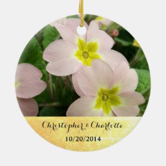 Light Pink Primrose Flowers Custom Wedding Ceramic Ornament