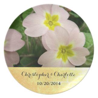 Light Pink Primrose Flowers Custom Wedding Plate