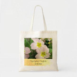 Light Pink Primrose Flowers Custom Wedding Tote Bag