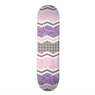 Light Pink Purple Taupe Country Patterns Skate Board Decks