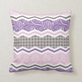 Light Pink, Purple, & Taupe Country Patterns Throw Pillow