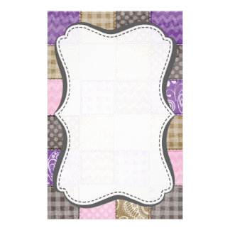 Light Pink, Purple, & Taupe Quilted Look Customized Stationery